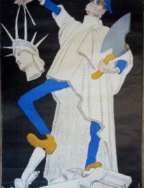 Антиамериканский плакат «Американская свобода в руках душителей народа» Кукрыниксы 105х68 Т.50000 Москва 1968г